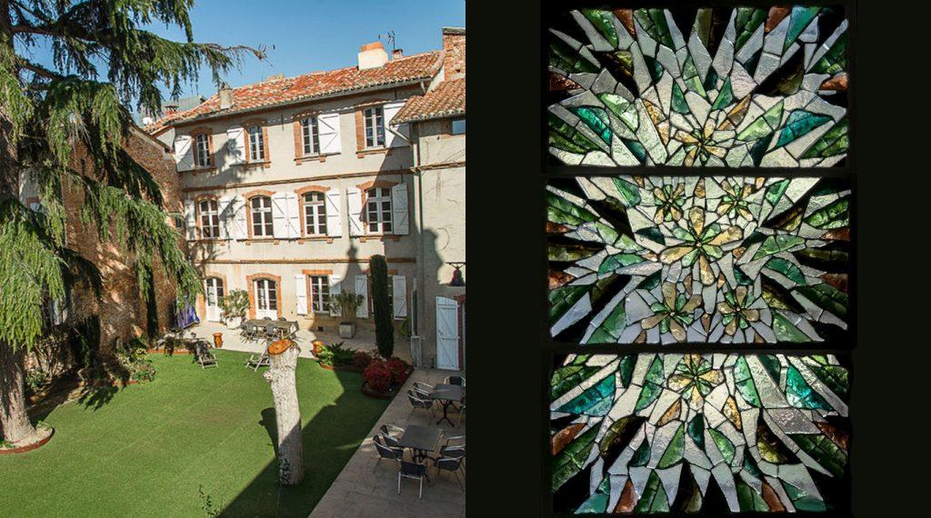 Gîte Croix de Pastel - Vitrail en dalle de verre, floral vert | Matthieu Gasc